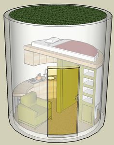 Another nice small home built in a concrete tube, with a vertical placement.