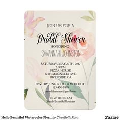 "Hello Beautiful Watercolor Floral bridal shower 5"" X 7"" Invitation Card"