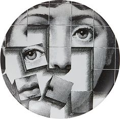 """We Adore: The """"Puzzle Pieces Face"""" Plate from Fornasetti at Barneys New York Black And White Plates, Black And White Wall Art, Black White, Color Black, Illustrations, Illustration Art, Service Assiette, Piero Fornasetti, Fornasetti Wallpaper"""