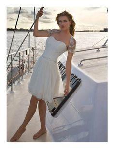 Chiffon Strapless Neckline A-Line Wedding Dress with Beaded Waistline - Bridal Gowns - goodcheapweddingdress Beach Bridal Dresses, Bridal Gowns, Wedding Gowns, Wedding Reception, Tulle Wedding, Boat Wedding, Reception Dresses, Prom Dresses, Dresses 2013