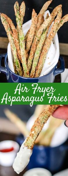 With less than 5 ingredients, NO oil, and done in less than 10 minutes, these Air Fryer Asparagus Fries will become a favorite side dish or snack! Substitute pork rind crumbs for bread crumbs and it's a keto hit! Air Fryer Recipes Breakfast, Air Fryer Dinner Recipes, Air Fryer Oven Recipes, Air Fryer Recipes Appetizers, Recipes Dinner, Asparagus Fries, Asparagus Recipe, Baked Asparagus, Air Fryer Recipes Asparagus