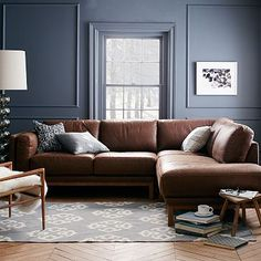 Dekalb 3-Piece Premium Leather Terminal Chaise Sectional #westelm