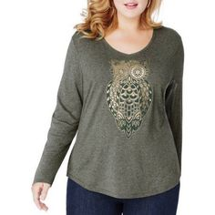 Just My Size Women's Plus-Size Long Sleeve Printed V-neck T-shirt