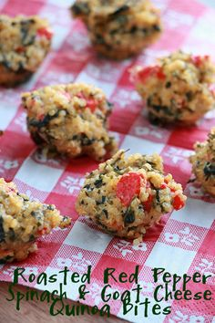 Roasted Red Pepper, Spinach & Goat Cheese Quinoa Bites