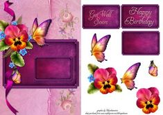 Pansy on Craftsuprint designed by Debra Jenkinson - pretty in pink on a plush velvet tag which you can add your own words to or use the one supplied - Now available for download!
