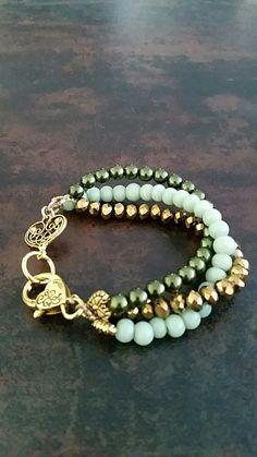 Gold&Green glass Pearls&Mintgreen glass