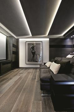 Lighting. Wood Flooring. Color Scheme. Large Photography Print. Home Theater. Screening Room.