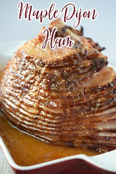 Maple Dijon Ham - This is the perfect ham recipe for the holidays! Ham baked with a sweet and tangy maple and dijon mustard glaze. Holiday Ham Recipe | Christmas Ham | Thanksgiving Ham | Maple Ham Holiday Ham, Christmas Ham, Holiday Meals, Christmas Cooking, Christmas Recipes, Holiday Recipes, Ham Recipes, Entree Recipes, Brunch Recipes