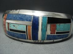 Gilbert Nelson  Vintage Navajo Turquoise Inlay  Sterling Silver Bracelet