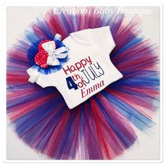 4th of July baby girl outfit , happy 4th of July , personalized baby 4 th of July outfit , red , white and blue outfit by CreationsBabyB on Etsy https://www.etsy.com/listing/288882693/4th-of-july-baby-girl-outfit-happy-4th