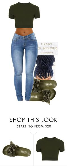 """Olive‍♀️"" by mskaylamosley ❤ liked on Polyvore featuring Puma and Topshop"