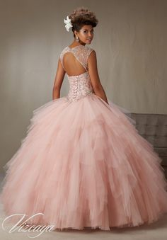 Quinceanera Dress 89066 Embroidery and Beading on a Ruffled Tulle Skirt