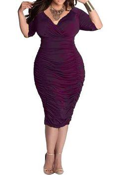 010102ba117e LaSuiveur Womens V Neck Low Bust Cascading Ruffle Slim Fit Plus Size Dress.  Buy now