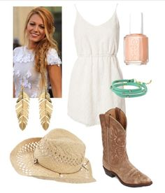 Great country girl outfit! Never go wrong with a little white cotton dress!