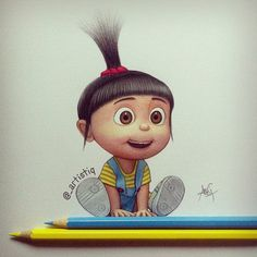 Agnes from Despicable Me! Drawn with colored pencils 😊 Disney Kunst, Arte Disney, Disney Art, Cartoon Wallpaper, Cute Disney Wallpaper, Wallpaper Pictures, Colorful Drawings, Cute Drawings, Drawing Sketches