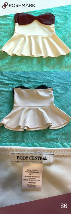 """NWOT Cream Peplum Tube Top with Black Bow NWOT cream and black tube top with flattering peplum detail - measures 16"""" from top to bottom - never worn - fits M/L in my opinion with a nice amount of stretch Body Central Tops Tank Tops"""