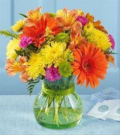 flores mais tropicais (astromélias, gérberas e crisântemos) cartela (rosa, laranja e amarelo)