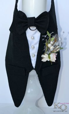 Black Dog Tuxedo Linen Boy Dog Harness Wedding Rustic by KOCouture Etsy, dog clothes, cute, puppy, pet clothes, wedding, dog tuxedo, groomsman, rustic, black