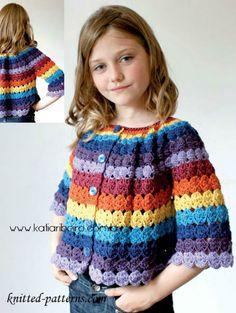 Cute striped cardigan for girl! *** Lindo cardigan a rayas para niña! Diy Crochet Cardigan, Gilet Crochet, Crochet Jacket, Knit Crochet, Crochet Baby Cardigan Free Pattern, Crochet Girls, Crochet For Kids, Free Crochet, Easy Crochet