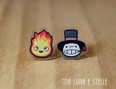 Earrings Calcifer and scarecrow Turnip Head by TraLunaeStelle
