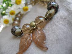 Green glass bracelet & pearl