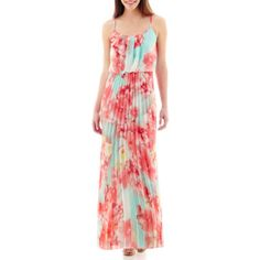 Bisou Bisou® Spaghetti Strap Pleated Maxi Dress.