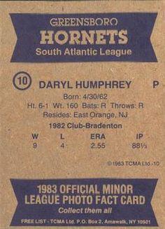 1983 TCMA Greensboro Hornets #10 Daryl Humphrey Back