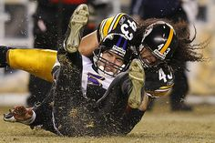 I think this is my favorite picture of all time! It needs to be a FatHead-Troy Polamalu Steelers Ravens, Steelers Pics, Here We Go Steelers, Pittsburgh Steelers Football, Pittsburgh Sports, Best Football Team, Steelers Stuff, Football Baby, Football Fever