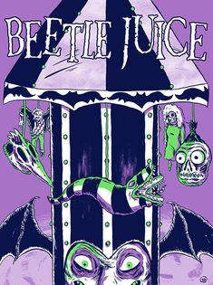 BROTHERTEDD.COM - jgillustration: My Beetlejuice poster is now... Horror Art, Horror Movies, Horror Books, Spawn, Beetlejuice Tattoo, Beetlejuice Movie, Beetlejuice Costume, Desenhos Tim Burton, Tim Burton Characters