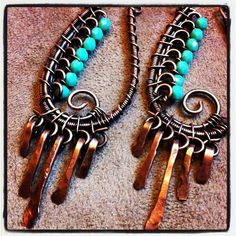 Paisley Copper Wire Wrapped Earrings Turquoise Czech Glass and Hammered Dangles. $55.00, via Etsy.