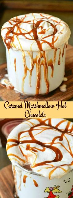 and heavenly dessert hot chocolate! Rich milk hot chocolate made with caramel and marshmallow fluff.Simple and heavenly dessert hot chocolate! Rich milk hot chocolate made with caramel and marshmallow fluff. Yummy Treats, Delicious Desserts, Sweet Treats, Yummy Food, Dessert Drinks, Yummy Drinks, Dessert Recipes, Healthy Drinks, Healthy Food