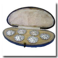 Inv. #10925  6 Antique Art Nouveau Sterling Buttons, Birmingham, 1903, Boxed. Lawrence Jeffrey Estate Jewelers