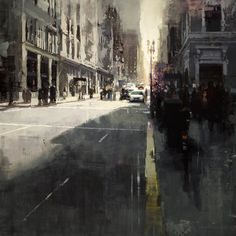 """""""Sunset by Union Square"""" by Jeremy Mann - 36 x 36 in., Oil on Panel"""