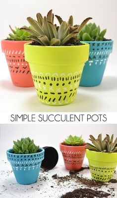 These simple succulent pots are easy to make and are great for a bright pop of life and color in your home decor! Home Decor Store, Cheap Home Decor, Lohals, Farmhouse Side Table, Rustic Farmhouse, Cute Dorm Rooms, Small Apartment Decorating, Dining Room Inspiration, Succulent Pots
