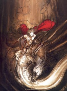 by Yoshitaka Amano, from the Shishioh artbook Final Fantasy Art, Dark Fantasy, Yoshitaka Amano, Vampire Hunter D, Shizuoka, Japanese Artists, Asian Art, Les Oeuvres, Cool Art
