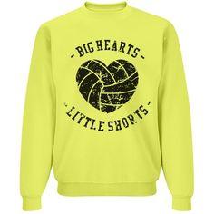 Big Hearts, Little Shorts Unisex JERZEES Neon NuBlend Crewneck Sweatshirt #volleyball