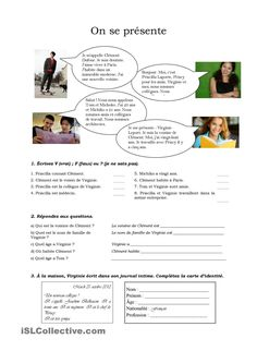 On se présente (version pour adultes) French Language Lessons, French Lessons, French Phrases, French Words, French Teacher, Teaching French, High School French, French Conversation, French Course