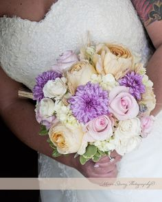 Rustic peach white pink purple wedding bouquet with roses and peonies
