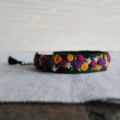 Textile Art Embroidered Cuff Bracelet  Purple Pink Yellow and