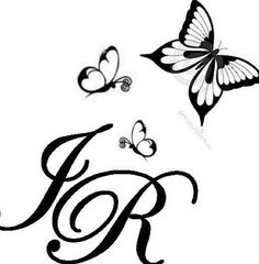 put butterflies around quote R Letter Design, In Loving Memory Tattoos, Henna Tattoo Designs, Tattoo Ideas, Partner Tattoos, J Tattoo, Butterfly Logo, Name Wallpaper, Cute Love Images