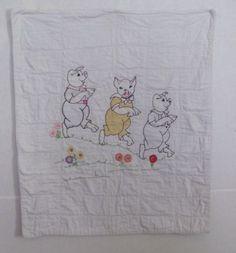 Vintage Machine Stitched Baby Quilt Three Little Pigs Hand Embroidered