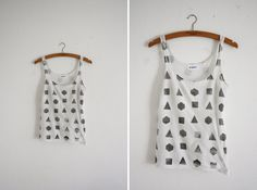 DIY Inspiration! Geometry Tank-Stencils by Plaid would make this super easy!