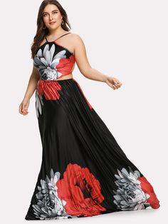 11ebc876272 Plus Flower Print Lace Up Backless Dress -SheIn(Sheinside) Model Shop