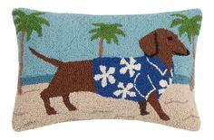 Dachshund HawaiianHook Pillow