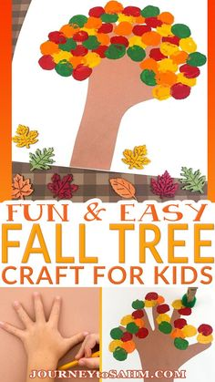 An easy paper and paint fall tree craft to teach kids about the changing colors of the leaves in a new way. Fall is such a fun time to see the leaves changing colors and letting your kids put together their own twist is inspiring. You can watch them create a picture they consider a masterpiece and even just use their favorite fall colors! | @journeytoSAHM #kidsfallcrafts #diyfallcraftsforkids #easykidsfallcrafts #kidsfallcrafthandprints #fallfunforkids #fallartsandcraftsforkids Easy Fall Crafts, Easy Crafts For Kids, Thanksgiving Crafts, Toddler Crafts, Diy For Kids, Infant Crafts, Educational Activities For Toddlers, Autumn Activities For Kids, Holiday Activities