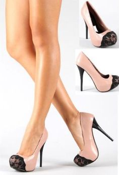 Shoehorne Neutral-127 - Womens Blush Pink Tribute High Heel Stiletto Platform Court Shoes w/ Black Lace Almond Toe - Avail in Size 3 - 8 UK