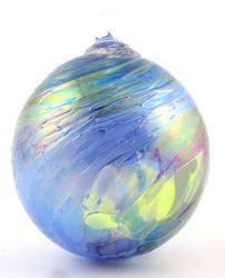 Blue Chip Ornament  GLASS EYE STUDIO  $26.00   Handblown glass ornament. Made in the USA. 3 1/2 inches