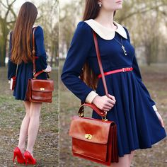 Navy Blue Dress With Peter Pan Coll Ar, Asos Brown Leather Bag, Toria Blanic Red Leather Heels, Red Belt, Key Necklace, Oval Retro Earrings