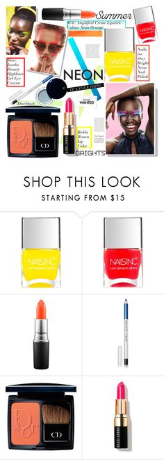 """""""Bright Eyes: Neon Beauty"""" by sofirose ❤ liked on Polyvore featuring beauty, Nails Inc., H&M, MAC Cosmetics, Marc Jacobs, Christian Dior, Bobbi Brown Cosmetics, Clé de Peau Beauté, Beauty and neon"""