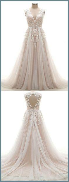 A-line Princess Deep V neck Appliqued Wedding Dresses,Sleeveless Dresses ASD2604 deep v neck wedding dresses, backless sexy wedding dresses,sweep train grace dresses.